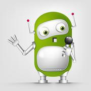 Green robot character Stock Illustration