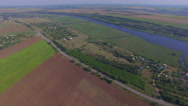Aerial fields and river Stock Footage