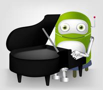 Green robot character Stock Illustration