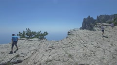 Aerial shot of Ai Petri rock. Edge of the rock. Jump from the rock. Stock Footage