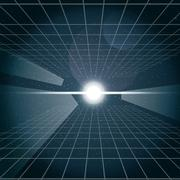 Digital vector cosmic white light and a grid Stock Illustration