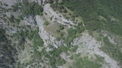 Aerial shot of Ai Petri rock. Flying above mountains and forrest. Stock Footage