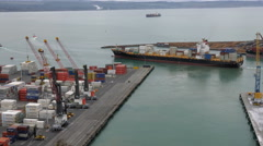 Port Operarations at Napier Container Port, Hawke's Bay, New Zealand Stock Footage