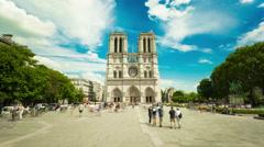 Timelapse Notre Dame de Paris, France in summer Stock Footage