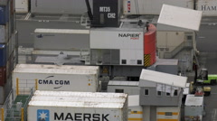 Napier Container Port, Hawke's Bay, New Zealand Stock Footage