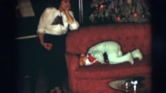1954: family celebrating christmas PENNINGTON, NEW JERSEY Stock Footage