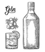Glass and bottle of gin and branch of Juniper with berries Stock Illustration