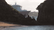 Cruise Ship Queen Mary 2 departing from Russell, Bay of Islands, New Zealand Stock Footage