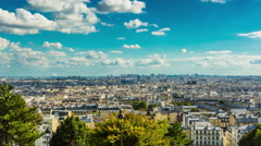 Timelapse of Paris in summer, cityscape, cloudy sky - zoom in Stock Footage