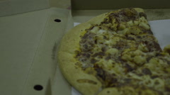 Tasty pizza on the table in a box. Tasty Fast Food Stock Footage