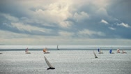 Sailracing with dramatic clouds Stock Footage