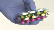 Blister capsules and doctor hands Stock Footage