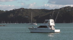 Motor cruiser, Russell, Bay of Islands, New Zealand Stock Footage