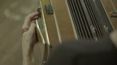 Bayan (accordion)  in the hands of accordionist. Close-up. Stock Footage