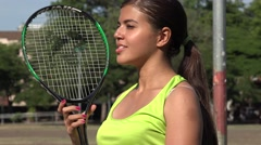 Female Tennis Player With Tennis Racket Stock Footage