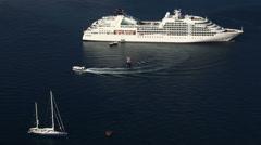 Cruise ship, motor boat and sailing boat at sea Stock Footage