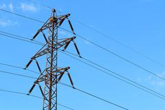 Photo of old transmission tower also power tower or electricity pylon with bl Stock Photos