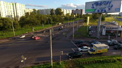 Cars wait green light on crossroad. St. Petersburg, Russia Stock Footage