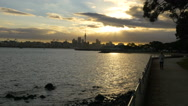 Auckland city from Devonport at Sunset Stock Footage