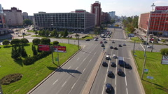 Flight over roadside toward to the Lengipromez building, St. Petersburg Stock Footage