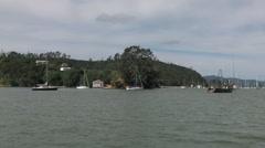 Crossing on the Opua to Russell Vehicle Ferry, Bay of Islands, New Zealand Stock Footage