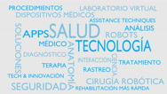 Health technology word tag cloud - white, Spanish variant Stock Footage