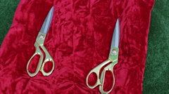Ceremonial scissors on red pillow Stock Footage
