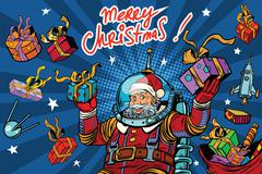 Space Santa Claus in zero gravity with Christmas gifts Stock Illustration