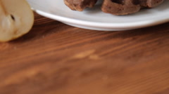 Waffles breakfast with pear on the table Stock Footage