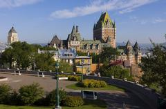 Chateau Frontenac Hotel and other building along avenue St. Denise, Quebec City, Stock Photos