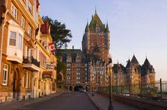 Chateau Frontenac and other hotels, Quebec City, along rue Laporte, Quebec, Stock Photos