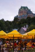 Outdoor restaurant in Lower old City below Chateau Frontenac, Quebec City, Stock Photos