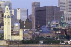 Skyline across St. Lawrence River, Montreal, Quebec, Canada. Stock Photos