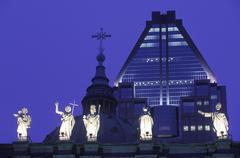 Bascillica Notre Dame religous statuary at dusk, Montreal, Quebec, Canada. Kuvituskuvat