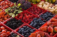 Jean Talon Market, fresh berries on display, Montreal, Quebec, Canada. Kuvituskuvat