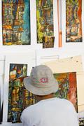 Artists works in old Montreal, Quebec, Canada. Stock Photos