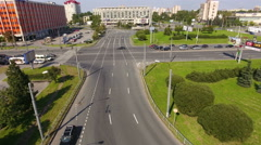 Constitution Square in Moscow district in Saint-Petersburg. Flight over of cross Stock Footage