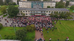 Inner yard of Russian school is full of kids and parents at September, 1 Stock Footage