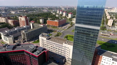 Business district with office buildings in Moscow district of city St.Petersburg Stock Footage