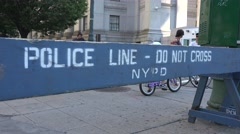 A 'Police Line-Do Not Cross' barrier in Manhattan, New York, United States. Stock Footage