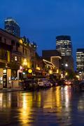 Evening along popular night life area of Crescent Street, Montreal, Quebec, Stock Photos