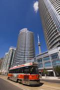Waterfront condominium buildings and Transit streetcar, Toronto, Ontario, Stock Photos