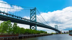 Benjamin Franklin Bridge Philadelphia Daytime Timelapse 4K HD Stock Footage