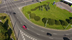 Flight over roundabout in city, Russia Stock Footage