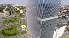 Aerial view at skyscraper of Leader Tower with mirror facade. St. Petersburg Stock Footage