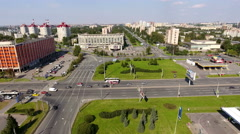 Aerial panoramic view of Constitution square, St. Petersburg, Russia Stock Footage