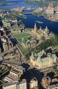 Aerial of parliament hill, Hull, Ottawa, Ontario, Canada. Stock Photos
