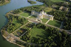 Aerial of Saskatchewan legislature building, Regina, Saskatchewan, Canada. Stock Photos