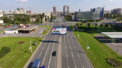 Leninsky avenue with wide roadside is on the Constitution Square. St. Petersburg Stock Footage