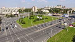 Crossing of the Leninsky avenue and Krasnoputilovskaya street, Russia Stock Footage